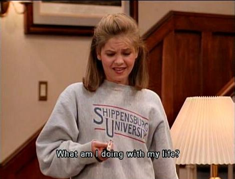 I'm sorry is DJ Tanner really wearing a Shippensburg University sweatshirt? Or is this like totally fake?!