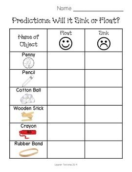 Worksheet Sink Or Float Worksheet change 3 songs and sinks on pinterest i use this to have students make predictions if an item floats or sinks