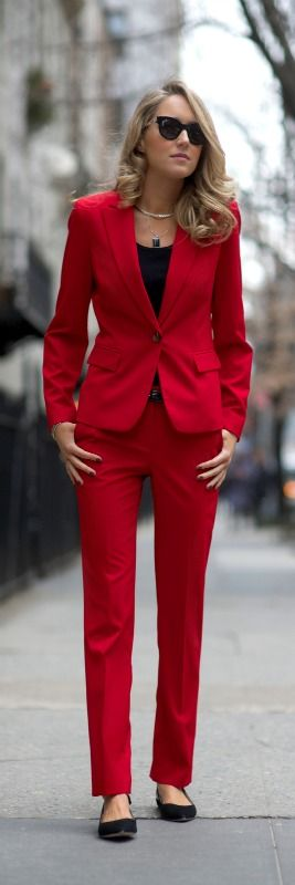 new on the blog - red pants suit and flats