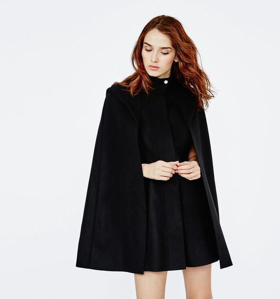 Maje - GLASGOW wool cape coat. The coat features a high neck with