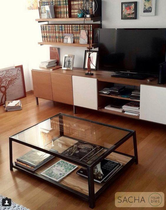 Mesa Helena : : Mesa ratona : :  Vidrio, hierro natural pulido y madera Peteribi