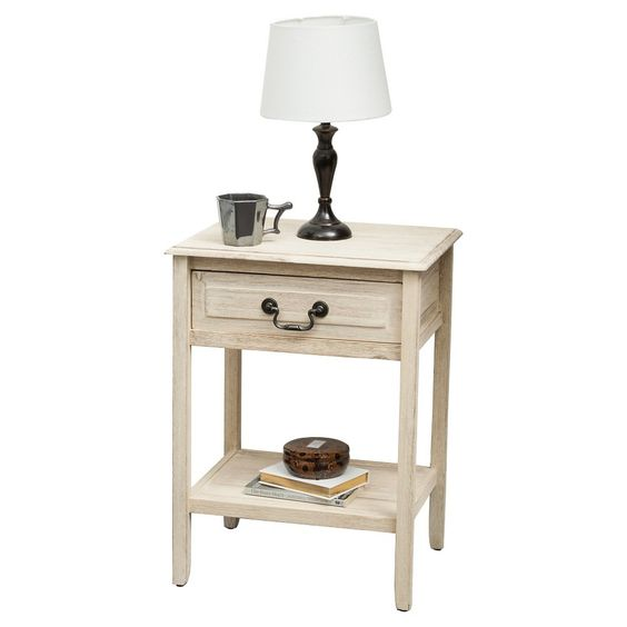 Banks End Table Accacia Wood Brushed Morning Mist - Christopher Knight Home, Beige