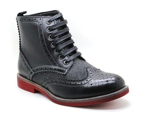 New Men&39s Faranzi High Ankle Boots Wing Tip Lace up Casual / Dress