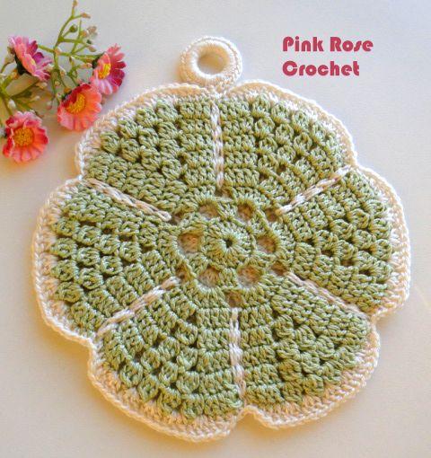\ PINK ROSE CROCHET /: Pega Panelas Flor Singela Verde