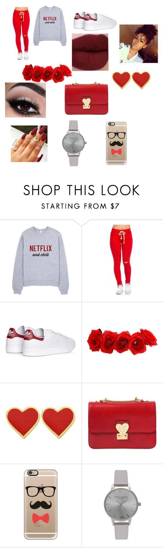 """Netflix"" by goofystar ❤ liked on Polyvore featuring adidas, Valentino, Casetify and Olivia Burton"