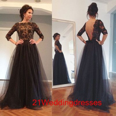 Custom Made Half Sleeves Long Prom DressesBlack Lace Prom Dresses ...
