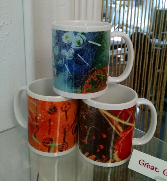 Wake up to something pretty! 11 oz coffee mugs with original artwork from PatriciaDee. Only $15 at Image Awards, Engraving & Creative Keepsakes in Geneva, IL!