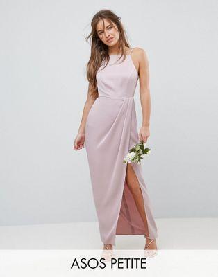 Asos Design Petite Bridesmaid Drape Front Strappy Back Maxi Dress Petite Prom Dress Casual Bridesmaid Dresses Maxi Dress Prom