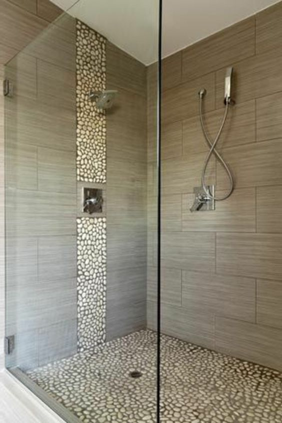 Naturstein Dusche Bad : Bathroom Shower Tile Ideas with Accent Stripe