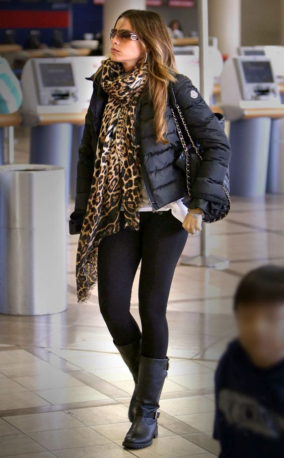 Sofia Vergara from Celeb Airport Style  For an easy way of elevating your airport style, throw on a chic leopard print scarf like the Modern Family star.NEXT GALLERY: Celebrity street style
