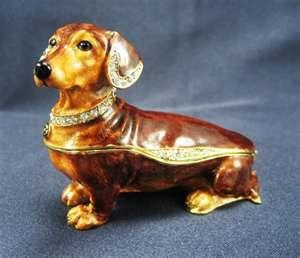 Brown Dachshund Dog Hinged Trinket Box- amazing and I need one for my dresser