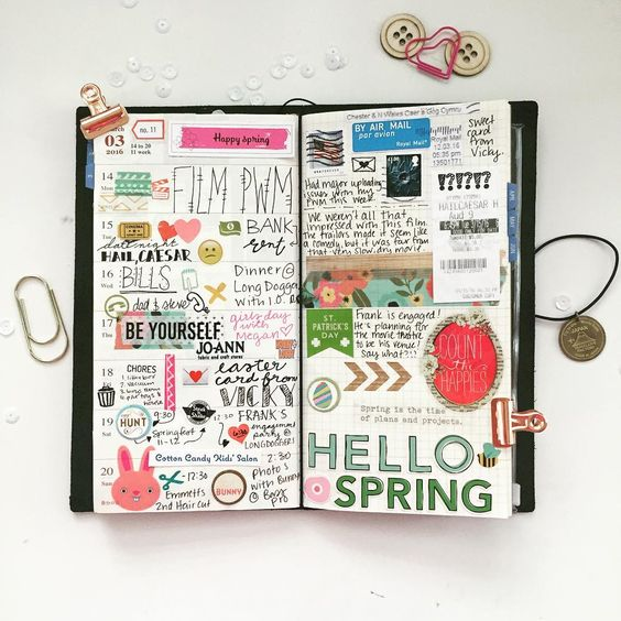 """""""Just finished my #midori #travelersnotebook #planner spread. I'm not totally in love with it because I didn't have a plan or use any kits but it's done…"""""""