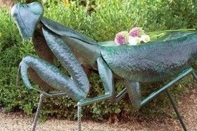 Praying Mantis Handmade Iron Garden Stool