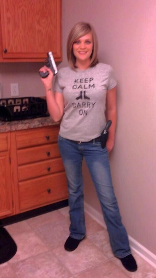 Ashley Smith Shore in her Gunmetal Edition Keep Calm Tee! 2A for life.  Click & Buy Now: http://mysocialtees.com/products/keep-calm-limited-edition-tshirt?pin