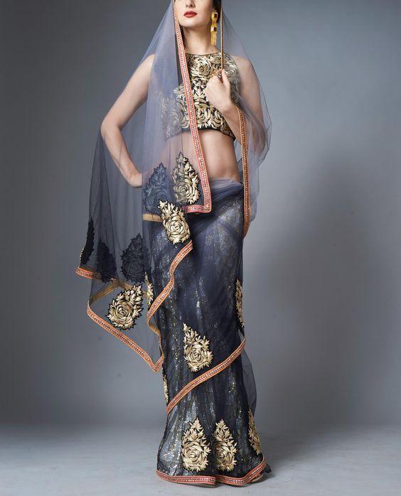 Shaded Net Sari - StylishMob - 1