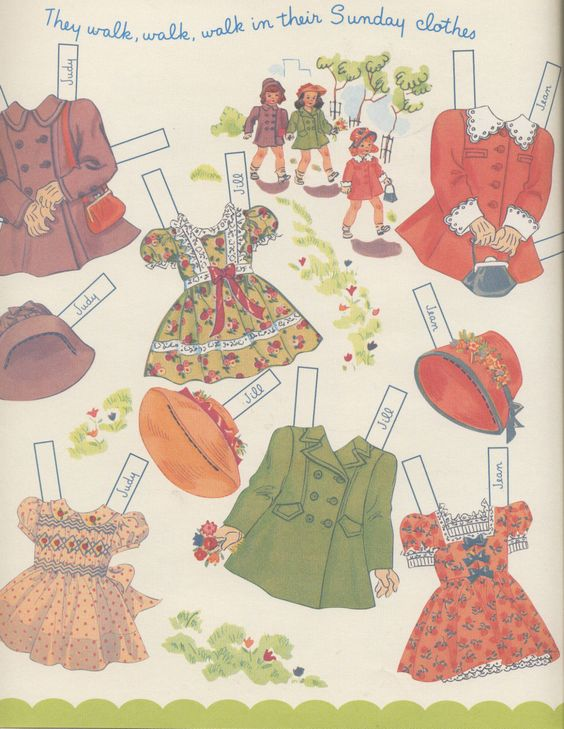 "WALK IN SUNDAY BEST | Uncut 2000 Shackman Copy of Hilda Miloche's ""Judy Jill Jean Paper Dolls"""