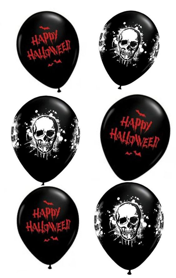 Halloween balloons x6  Halloween decorations  Happy by evescrafts