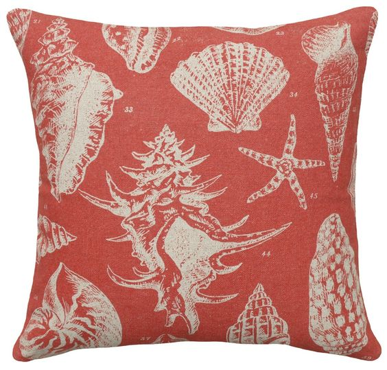 vintage sea shell images on a soft sea-washed red beach house