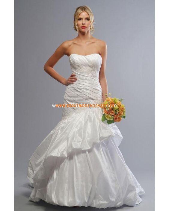 Geschichtetes festliches Brautkleid aus Taft Trägerlos mit Schnürung