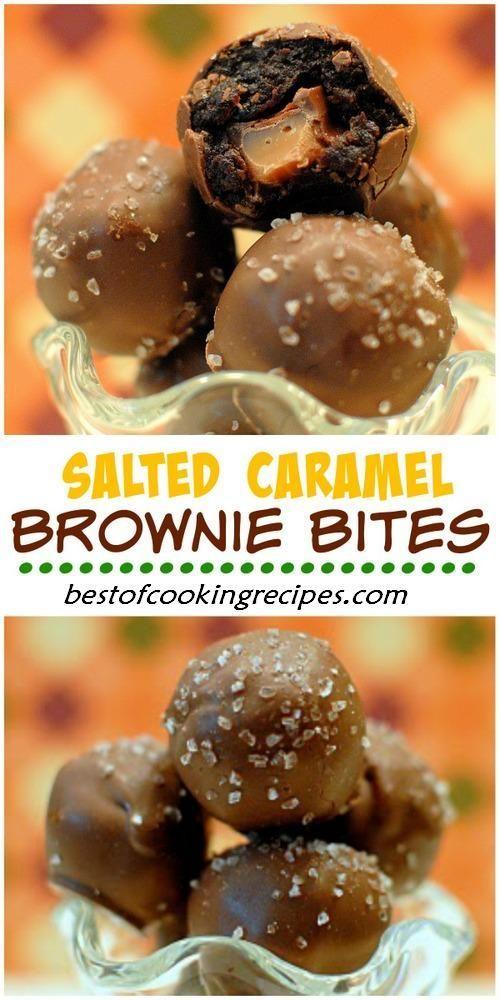 SALTED CARAMEL BROWNIE BITES)   Tiny Treats   Pinterest ...