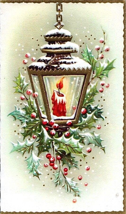 I would like to try & paint this Vintage Christmas Card in Watercolors: