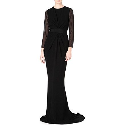 MAX MARA PIANOFORTE Long-sleeved sheer ruched gown (Black