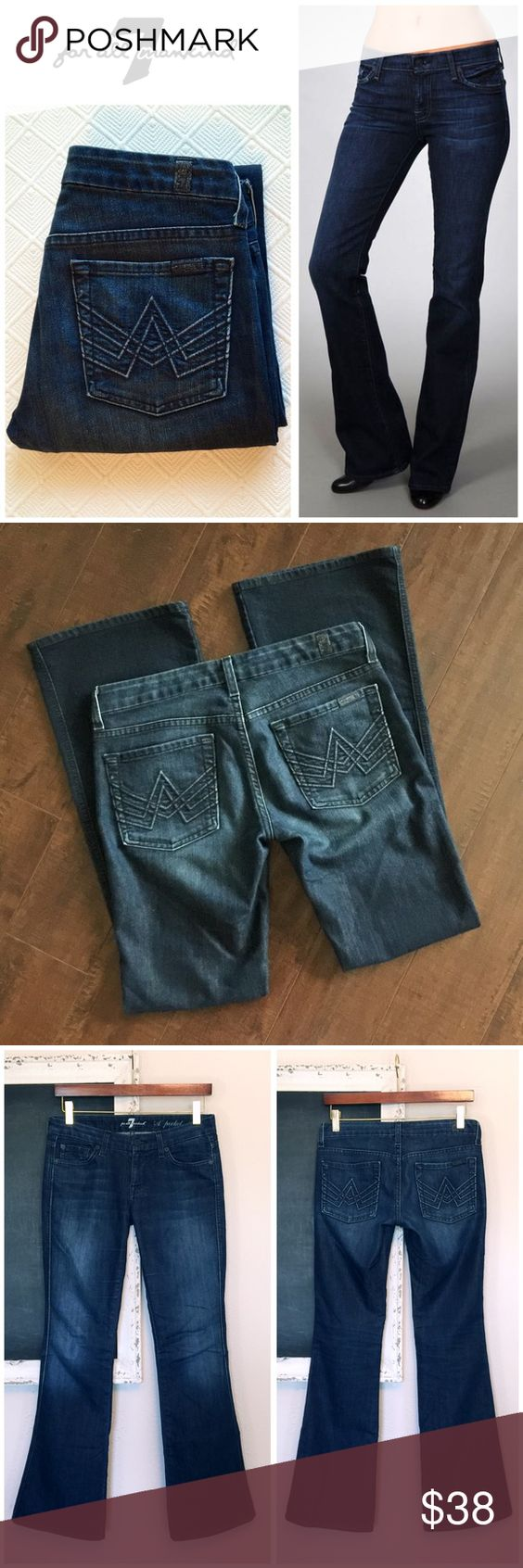 """7 for all Mankind Dk Wash A Pocket Lexie 👖 The Lexie Petite signature """"A"""" Pocket blue corded stitching on back pockets dark rinse and blue stitching throughout.  Great """"bum"""" jeans :) Excellent condition with no hem wear. Length Inseam: 30.5"""" / Waist: 15.5  flat across / 70% Cotton 28% Polyester 2% Lastol 7 For All Mankind Jeans Boot Cut"""