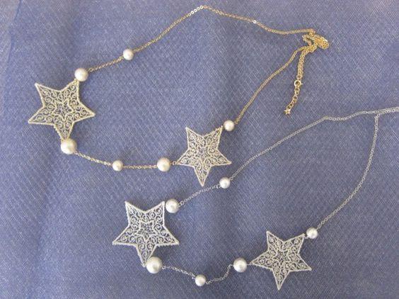 星モチーフとコットンパールを使用したネックレスです。カラーは上:ゴールド、下:シルバーゴールドはキスカ、シルバーはホワイトのコットンパールを使用しています。ご...|ハンドメイド、手作り、手仕事品の通販・販売・購入ならCreema。