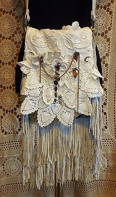 HANDMADE REPURPOSED BONE LEATHER DELICATE VINTAGE LACE BOHO HIPPIE BAG PURSE NEW