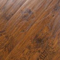 "6.38"" Handscraped Click Lock Hickory Bourbon Laminate Flooring"