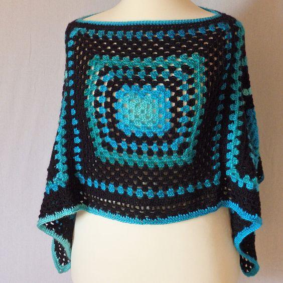 Poncho Crochet Degradés de Bleu Turquoise