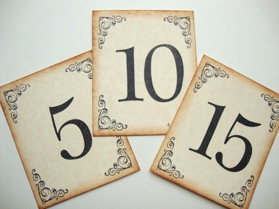 Wedding Table Numbers Rustic Country Vintage Style. $27.00, via Etsy.