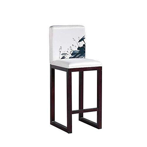 Xuexue Solid Wood Bar Chair High Back Bar Stool Simple Modern
