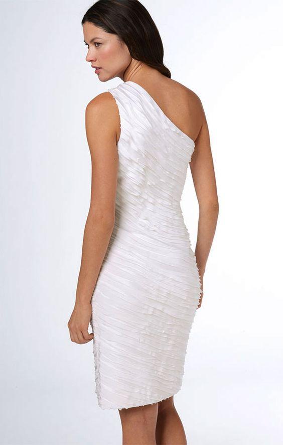 one shoulder dress   ... Klein Dress One Shoulder Satin White Dress   Beautiful Fashion Dresses