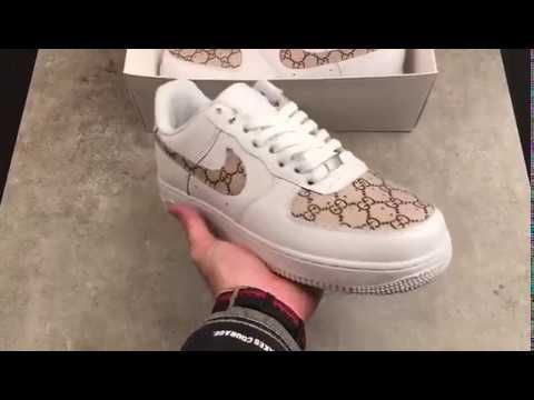 Custom Nike Air Force 1 Low Gucci Monogram Print G Classic Gold