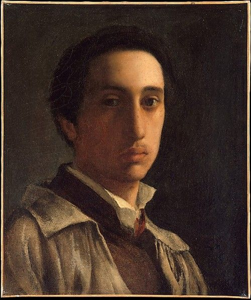 """Self-Portrait by Edgar Degas at age 21-22 (1855–56). Degas painted the dancers of the Paris Opera on canvas, in particular the """"petit rat"""", Marie Van Goethem who he immortalized on both canvas and in sculpture. (via The Metropolitan Museum of Art)"""