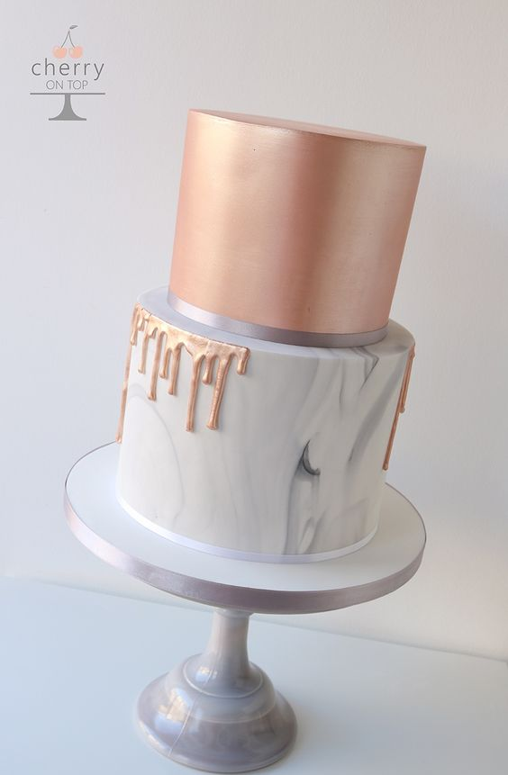 Rose Gold, Marble Drip Wedding Cake