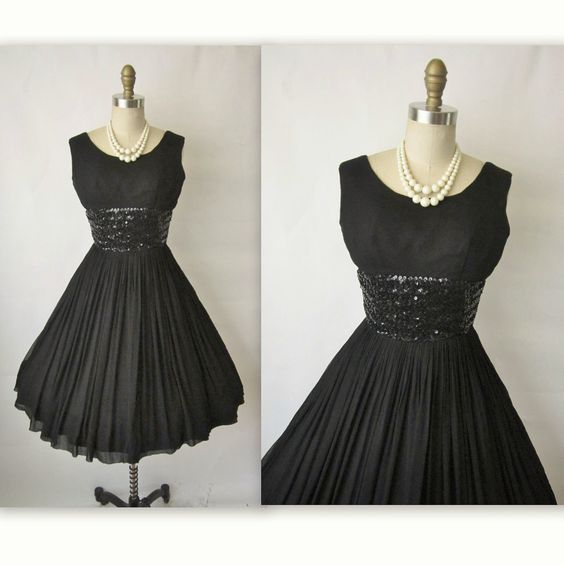 50's Chiffon Dress // Vintage 1950's Black Chiffon Sequin Cocktail Party Full Mad Men Dress XS