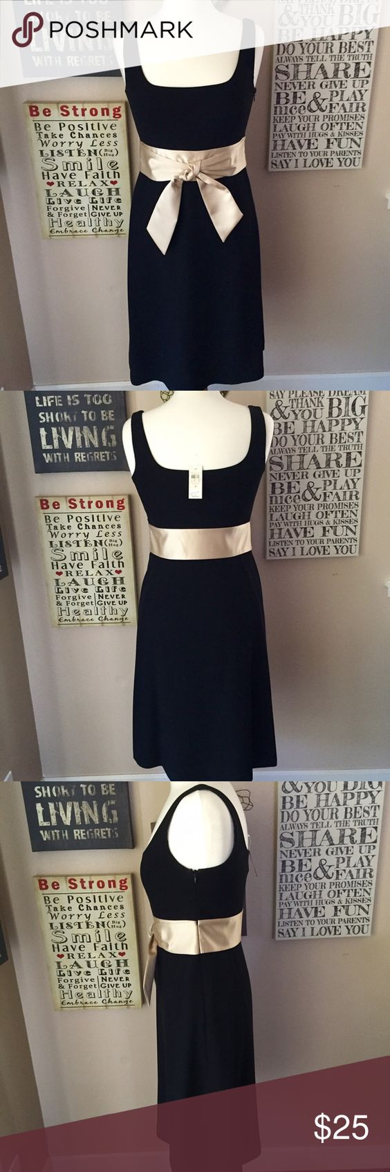 Ann Taylor Black Cocktail Dress with Beige Sash Ann Taylor black size 4, polyester cocktail dress with satin beige sash, sleeveless, square lining on the inside of dress, hidden zipper on left side, length of dress is 32 inches right on the knees, comfortable, very classy, great for holidays, fine dining dinners, weddings, you pick Ann Taylor Dresses Midi