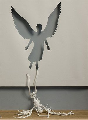 Angel paper sculpture by artist Peter Callesen