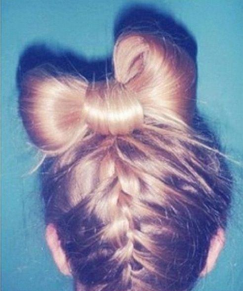 Astounding Cool Bow French Braid Bun Hair Pinterest French Braid Short Hairstyles For Black Women Fulllsitofus