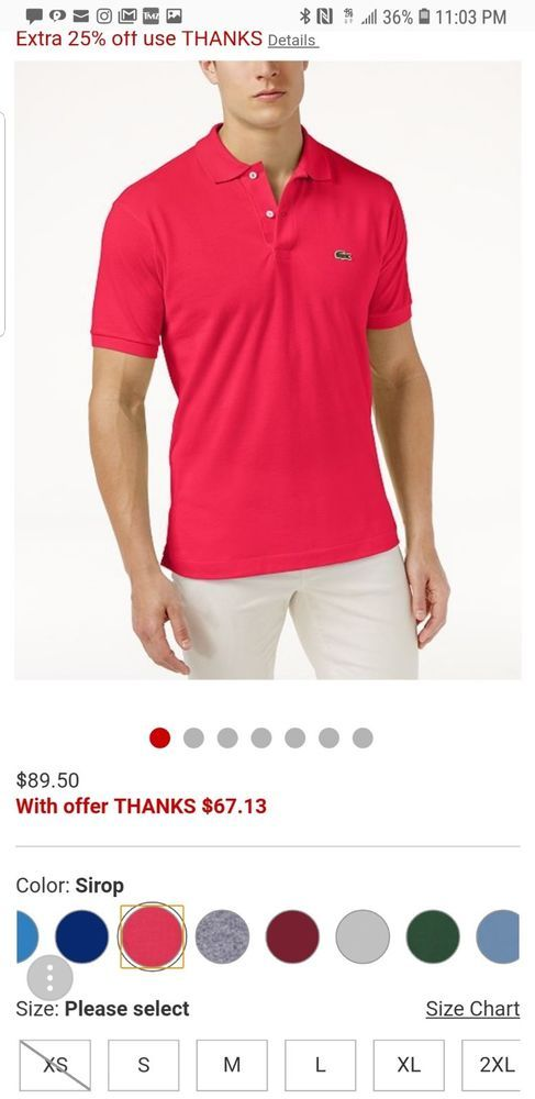 Lacoste Mens Short Sleeve Pique Classic Fit Polo Shirt Size 5 Red