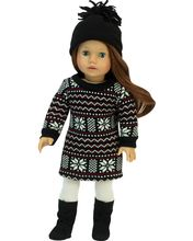 Fair Isle Knit Dress and Hat fits American Girl Winter Dresses