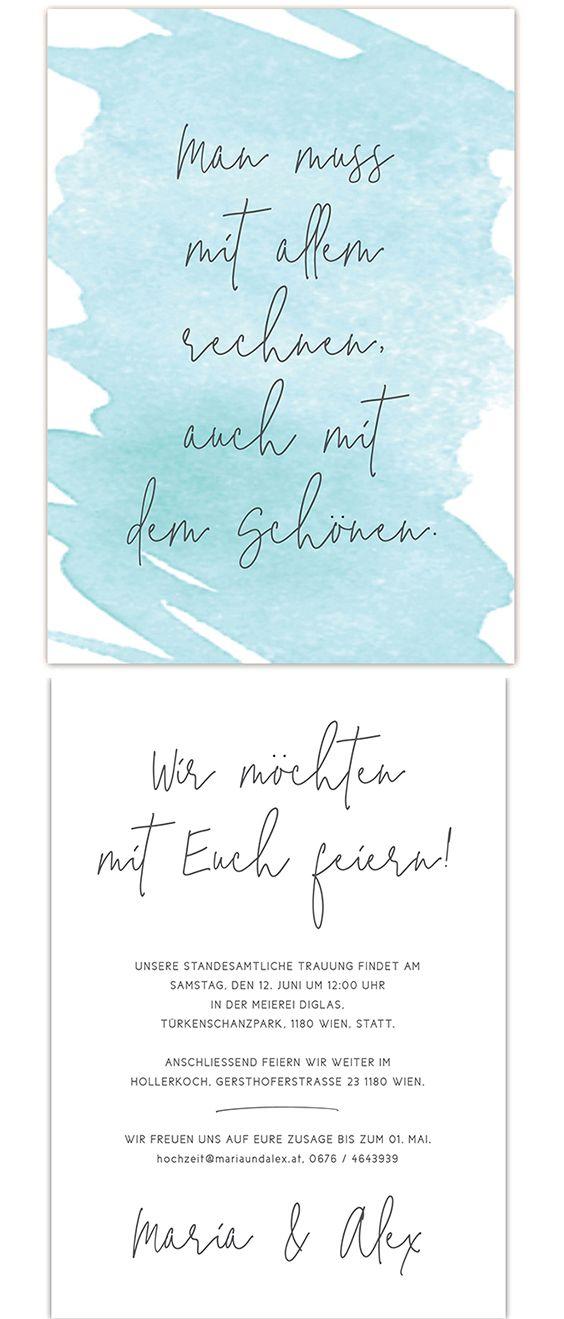 Hochzeitseinladung Watercolour Mint Spruch Hochzeitskarten