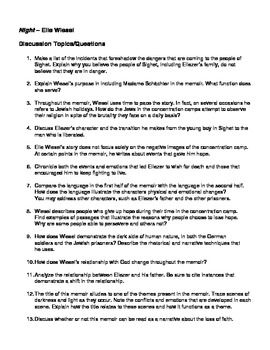 Night   Elie Wiesel      Essay Questions by Robert s Resources   TpT SparkNotes