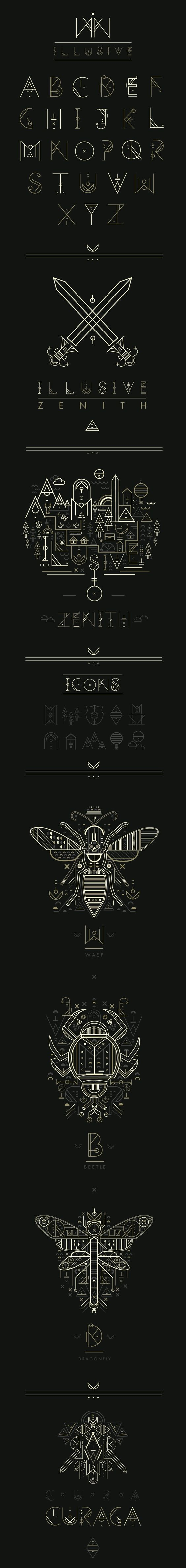 I do have a soft spot for barely usable contemporary display fonts.    Illusive by Petros Afshar, via Behance