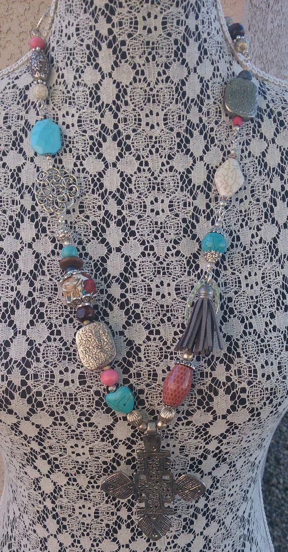 Colorful Boho Long Necklace-Gypsy-Tribal Hippie-Beaded Necklace-One of a kind  etsy.com/shop/secretstashboutique