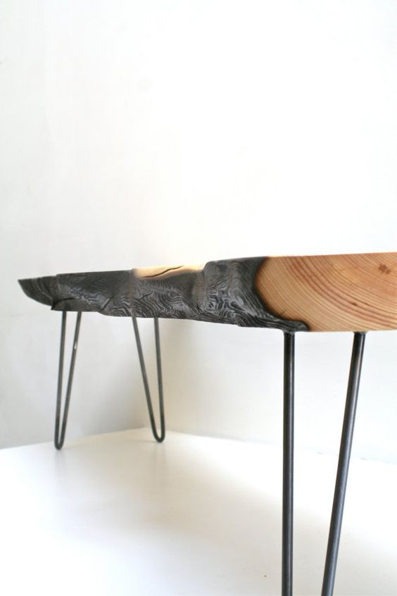 Coffee Table Fire Burned Rescued Wood Raw Steel By Realwoodworks1 Home Furnishings