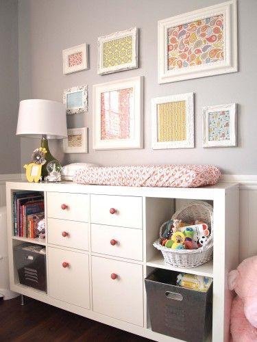 Baby changing area & dresser-Dresser – Ikea, Expedit Bookcase – $69.99  Dresser Double Drawers - Ikea, Expedit Insert with 2 Drawers - $35.00  Dresser Single Drawers – Ikea, Expedit Insert Single Drawer (no longer sold) – $35.00  Coral Knobs – Anthropologie, Granita Knob – $6.00  Dresser Legs – Ikea, Capita Leg 4-pack –$10.00  Galvanized Bins - Lowes, Galvanized Storage Bin -$10.00 Total =$165.00