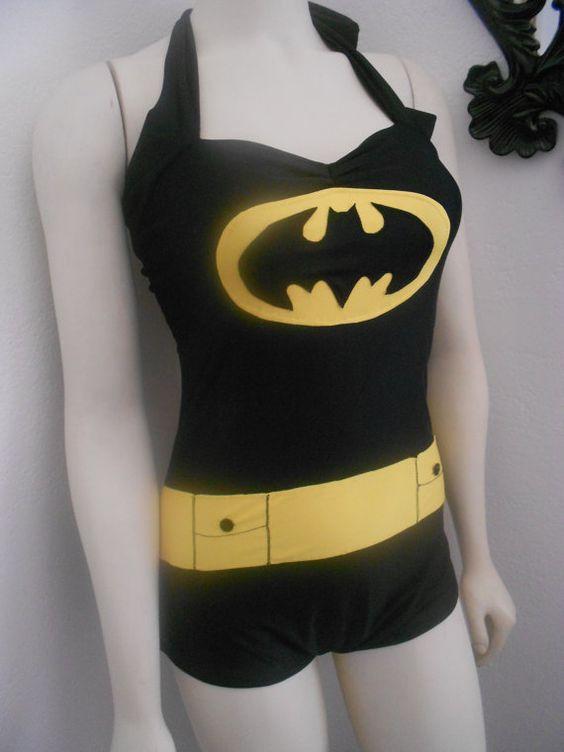 batman retro halloween swimsuit costume romper by reddollyswimwear 7600 this is so awesome i - Halloween Swimsuit